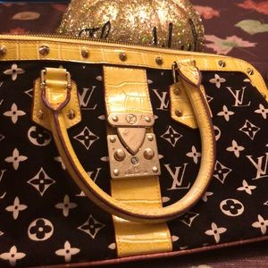 Louis Vuitton velvet yellow crocodile handbag